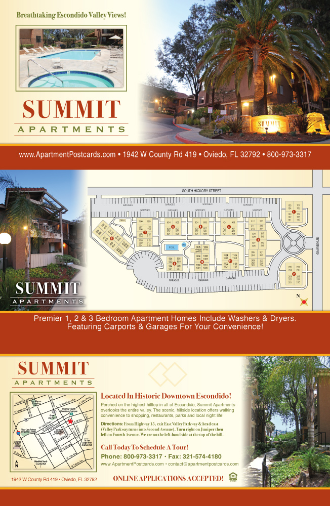Apartment Tri Fold Brochure Samples Brochures  Summit   Outside