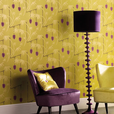 purple and chartreuse decor
