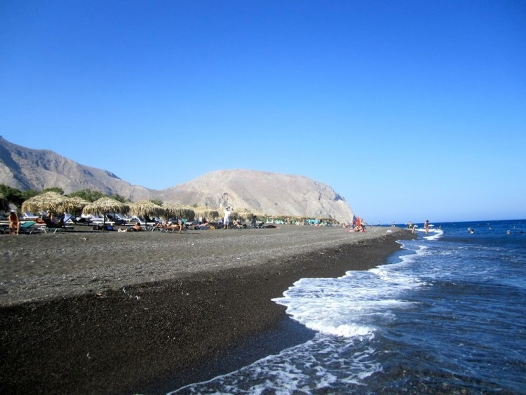 black sand beach santorini