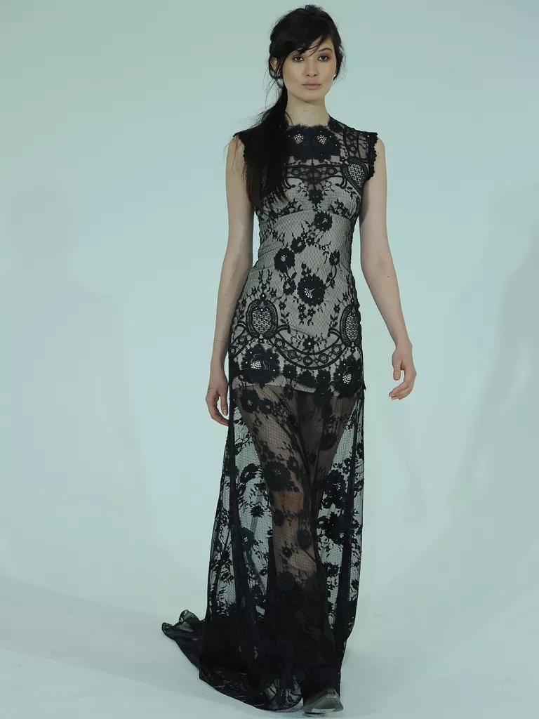 claire pettibone wedding dresses bridal fashion week spring black wedding dress Claire Pettibone sheer black lace wedding dress with champagne lining from Spring