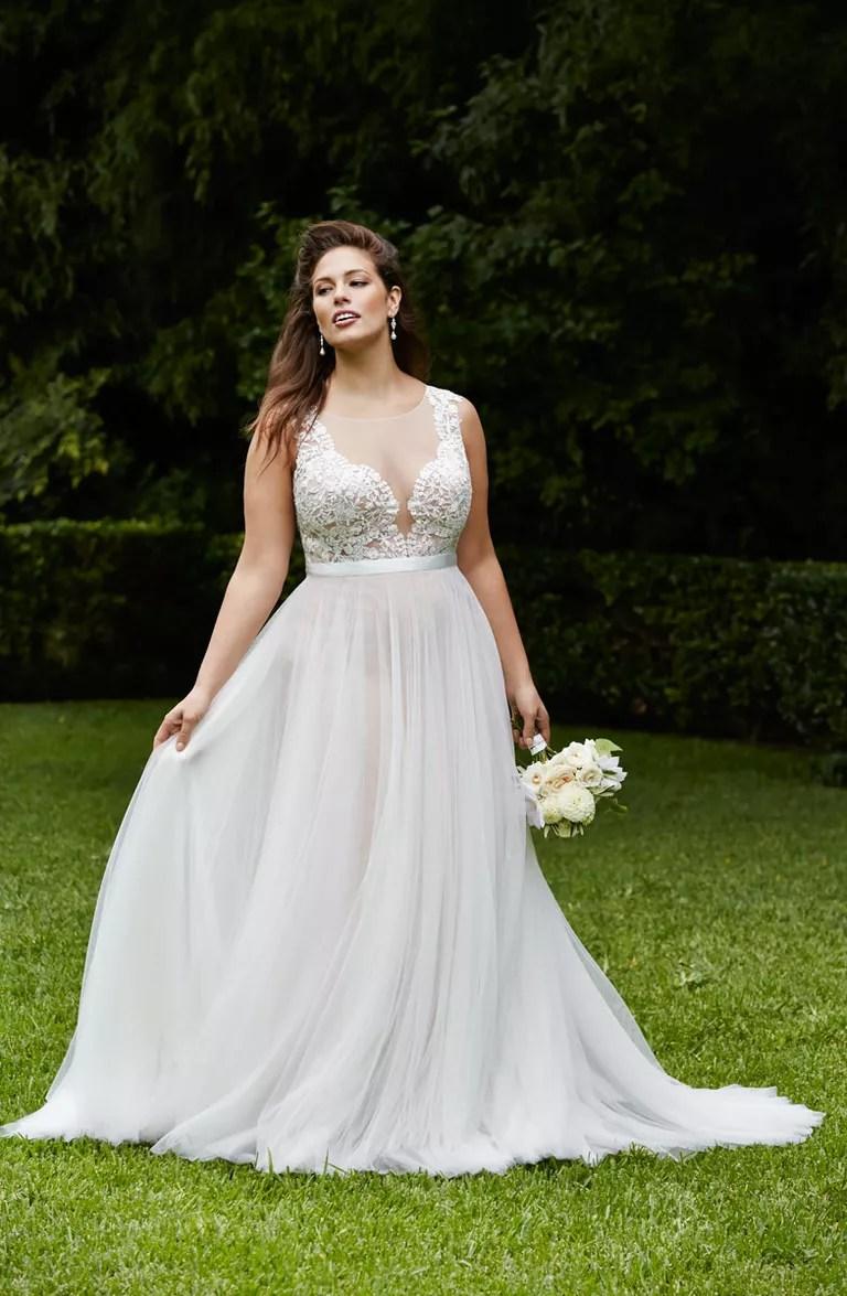 light flowy beach wedding dresses beach wedding dress Wtoo Curves Plus Size Beach Wedding Dress With Illusion Neckline And Flowy Skirt