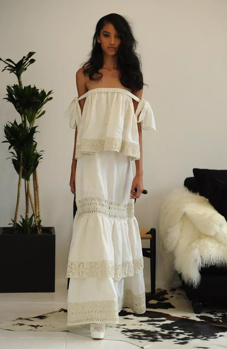 houghton wedding dresses bridal fashion week fall turtleneck wedding dress Houghton bohemian off the shoulder wedding dress with lace trimmed tiers from Fall