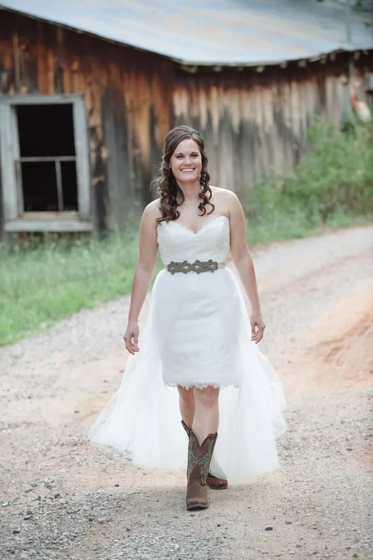 custom wedding gown with veil skirt and cowboy boots photo cowboy wedding dresses