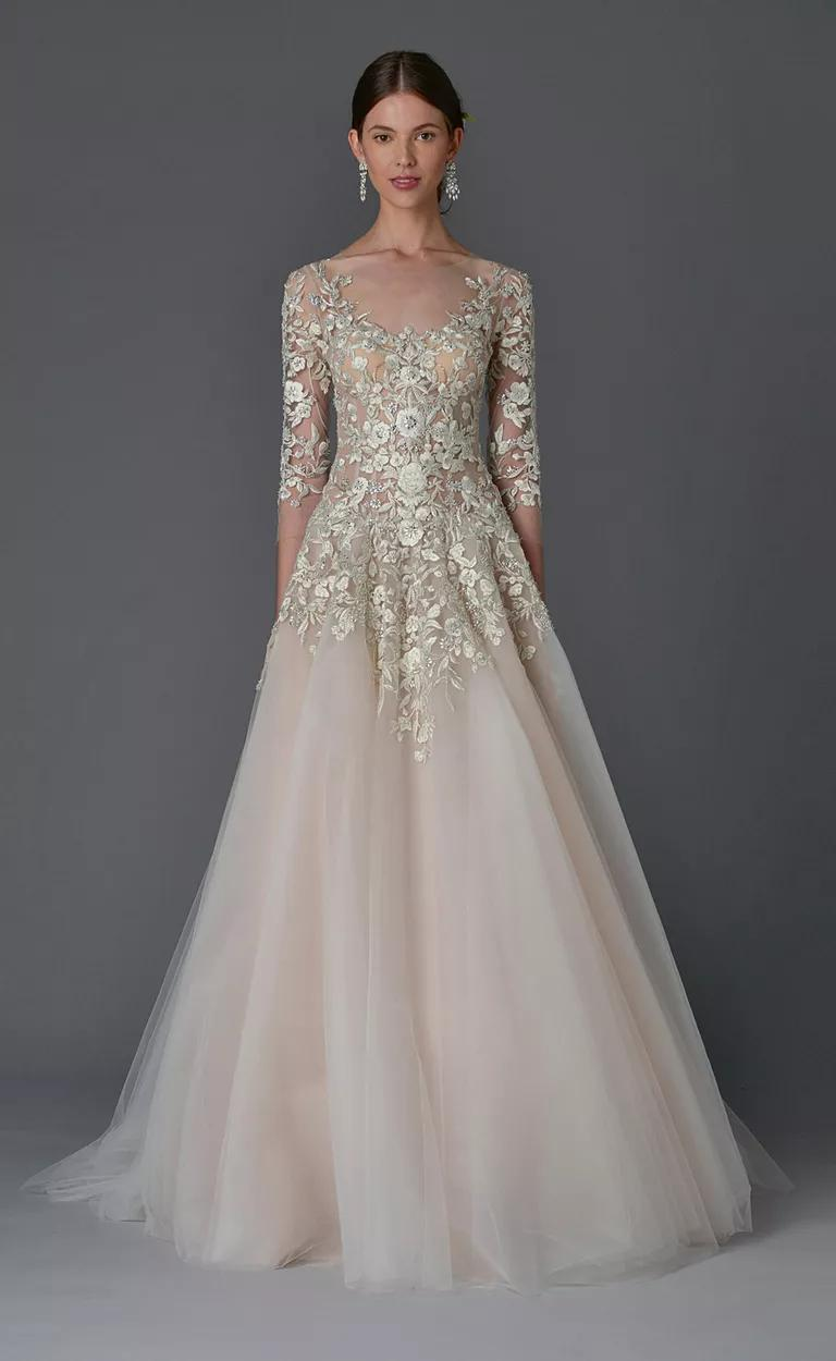 marchesa wedding dresses bridal fashion week spring marchesa wedding dresses Marchesa Spring blush tulle ball gown with metallic floral embroidery and three quarter sleeve