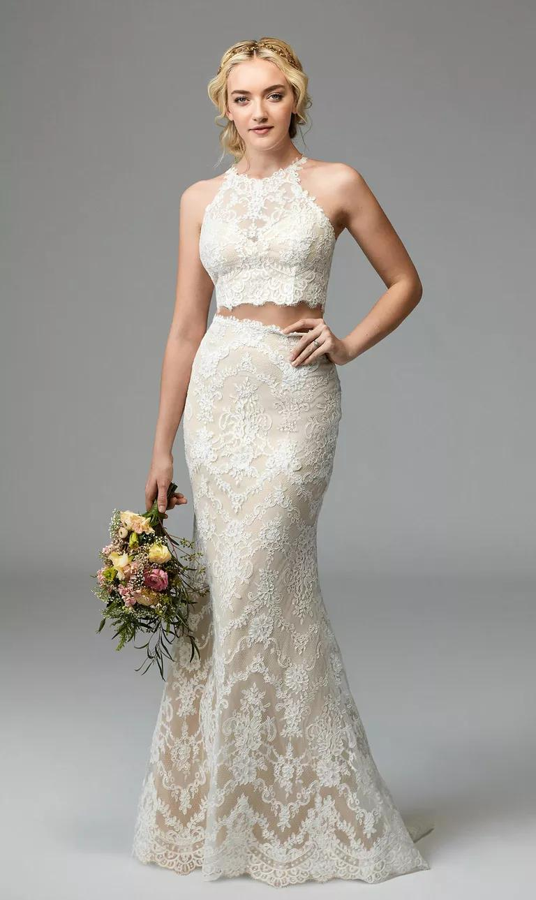 willowby dresses bridal fashion week fall sexy wedding dress Willowby Fall off white wedding dress with white lace overlay halter neck