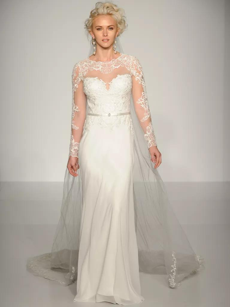 maggie sottero wedding dresses bridal fashion week fall flowy wedding dresses Maggie Sottero column wedding dress with tulle cape and long sleeves