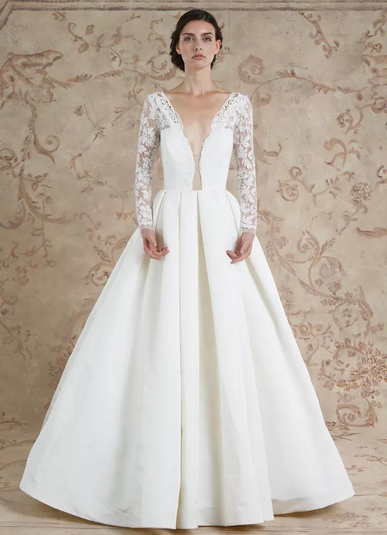 sareh nouri wedding dresses bridal fashion week fall fall wedding dresses Sareh Nouri Fall ball gown wedding dress with plunging neckline and long lace sleeves