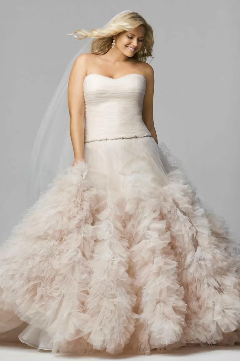 plus size blush pink wedding dress blush pink wedding dresses Blush Wedding Dress Watters Pink Plus Size
