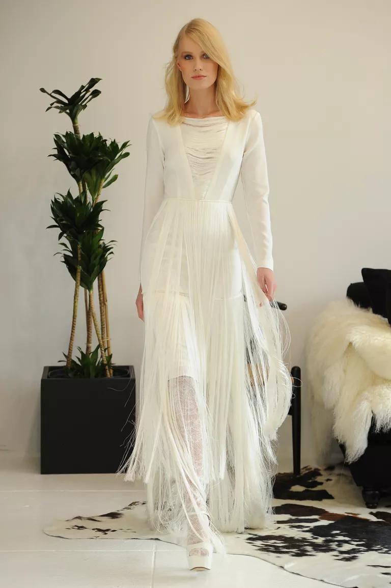 houghton wedding dresses bridal fashion week fall turtleneck wedding dress Houghton modern bohemian wedding dress with illusion v neckline long sleeves and horsehair overlay