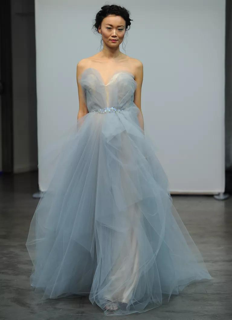 carol hannah wedding dresses bridal fashion week fall wedding dresses with blue Carol Hannah Fall sweetheart neckline A line blue tulle wedding dress