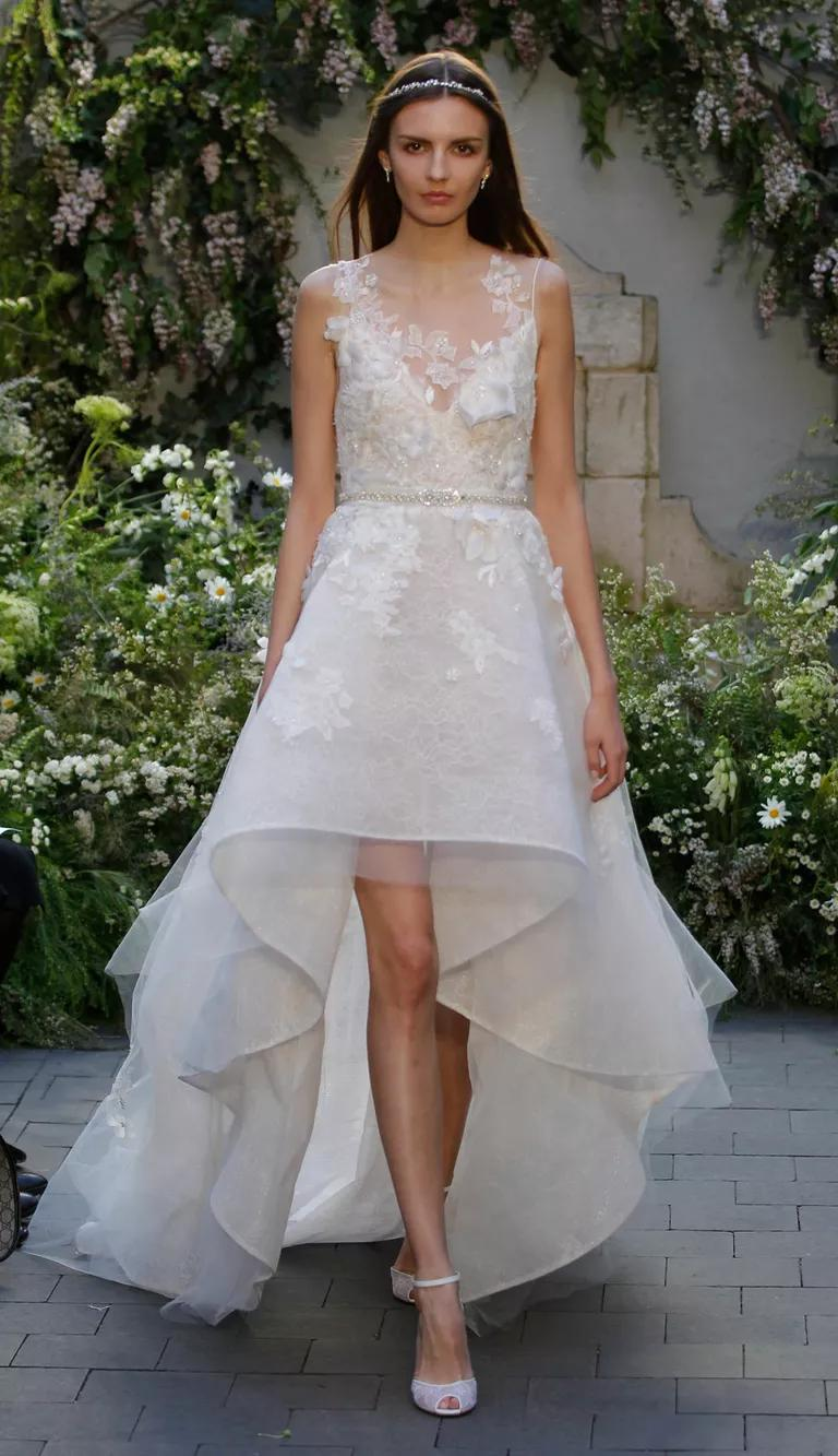monique lhuillier bridal fashion week spring high low wedding dress Monique Lhuillier Spring silk white wedding dress with embroidered sleeveless illusion bodice Chantilly