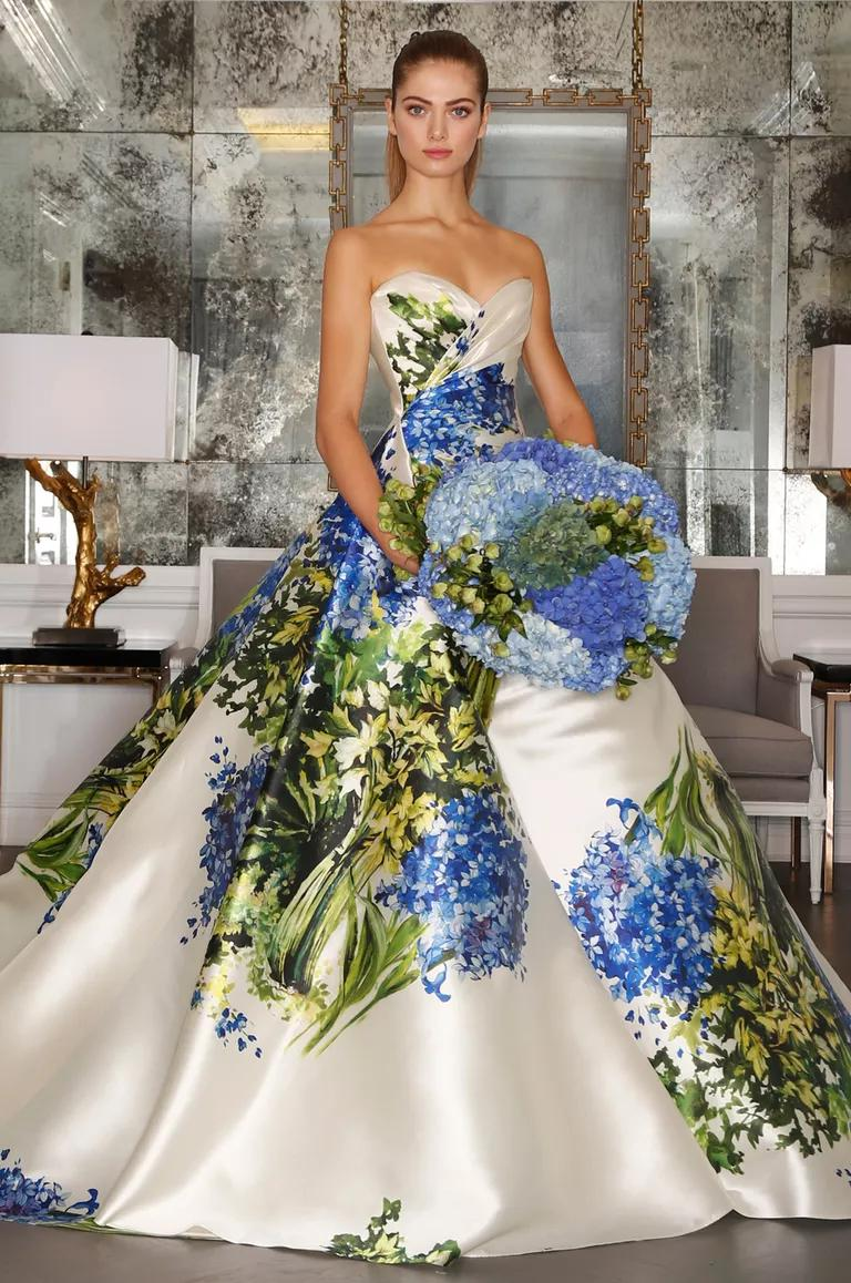romona keveza wedding dresses bridal fashion week wedding dresses with blue Romona Keveza wedding dress with sweetheart neckline full ball gown skirt with green and