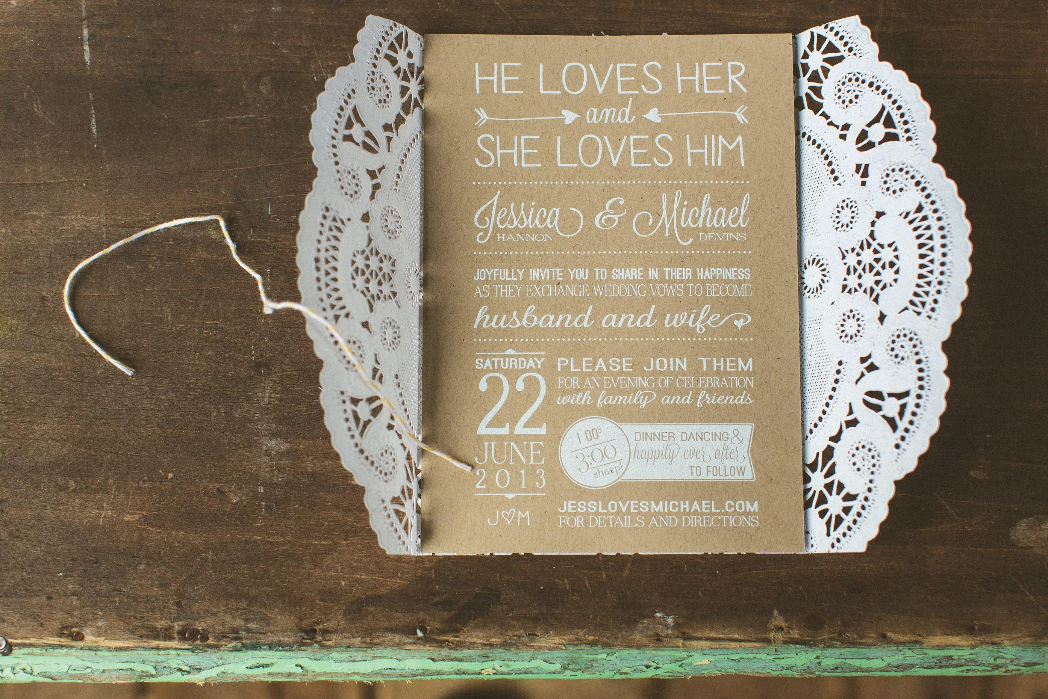 diy wedding invitations photos diy wedding invitation Lacy Brown White Invitations