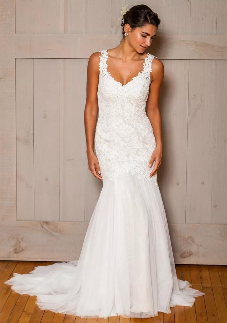 davids bridal wedding dresses bridal fashion week fall floral lace wedding dress David s Bridal Fall wedding dress with floral lace straps and bodice and tulle skirt
