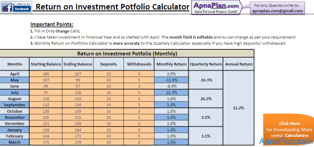 Portfolio Return Calculator