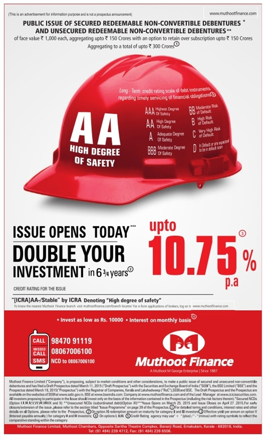 Muthoot Finance NCD – March-April 2015 - Advertisement