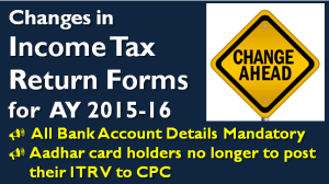 Changes in Income Tax Return Forms for AY 2015-16