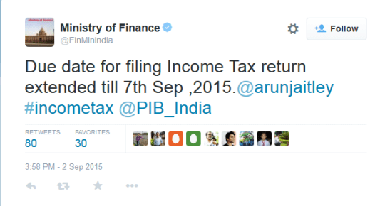 Ministry of Finance Tweet – Extension of due date for filing Income Tax Return 2015