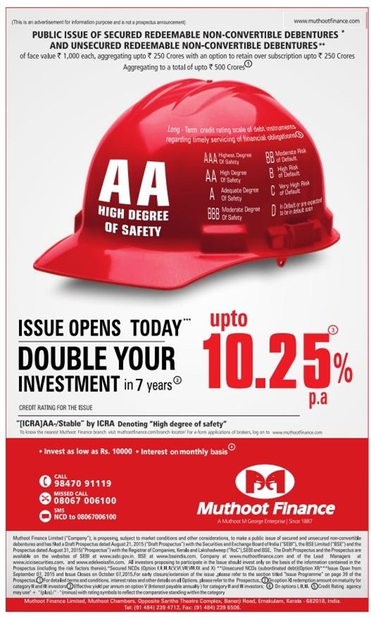 Muthoot Finance NCD - September/October 2015 Advertisement