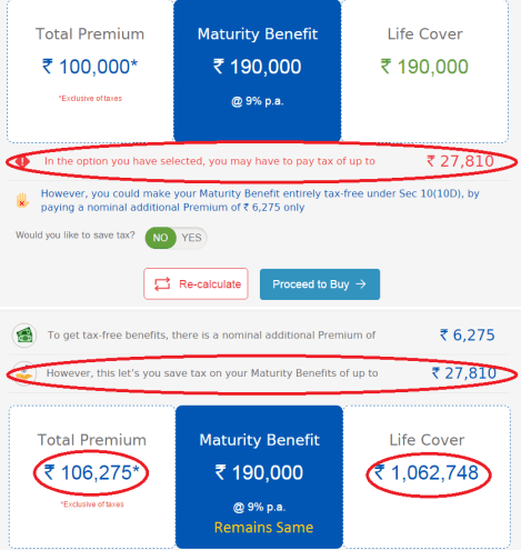 Bharti AXA Life Invest Once Plan - Premium Enhancement for Tax Benefit
