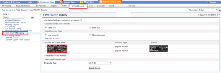 Fill 15G and 15H Forms Online in SBI