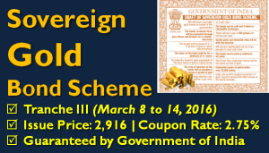 Sovereign Gold Bonds Tranche III - March 2016