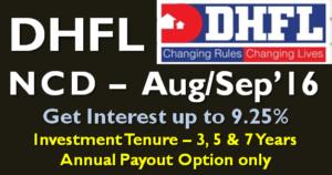 DHFL NCD - Aug Sep 2016