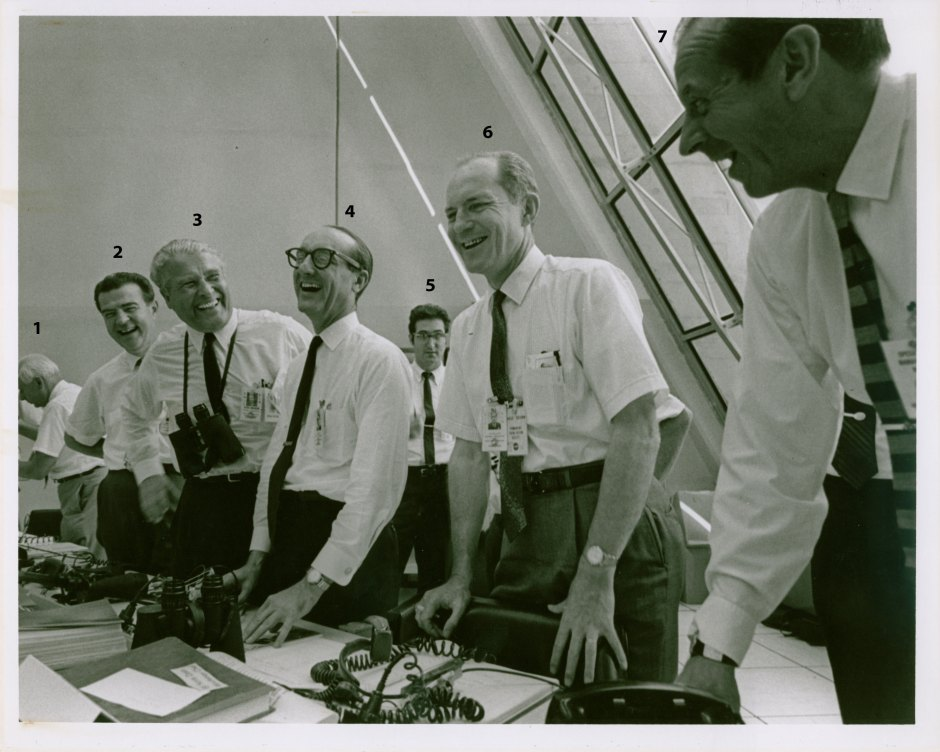 Eberhard Rees?, Charles Mathews, Wernher von Braun, George Mueller, Don Phillips after Apollo 11 launch