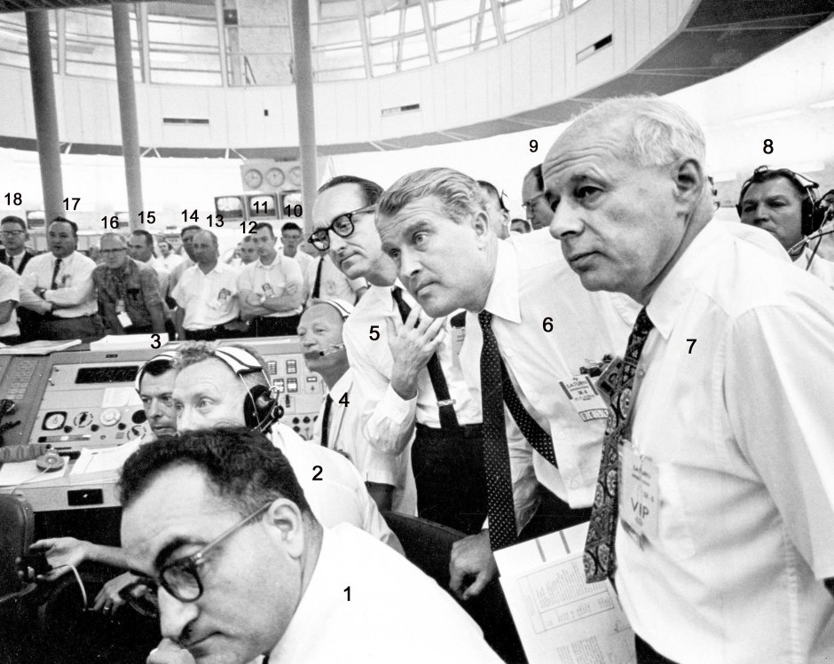 Von Braun, Mueller, and Rees in SA-6 blockhouse firing room