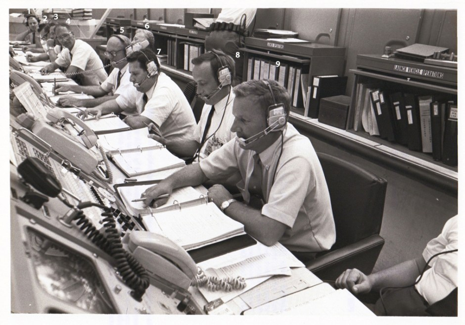 Row B in Firing Room 1 during Apollo 11 CDDT July 3, 1969