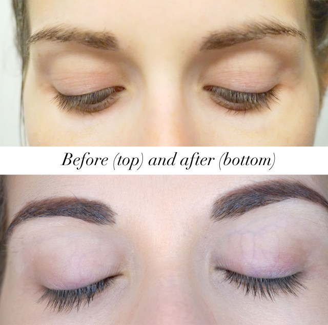 Before and after photos of using RapidLash Eyelash Enhancing Serum