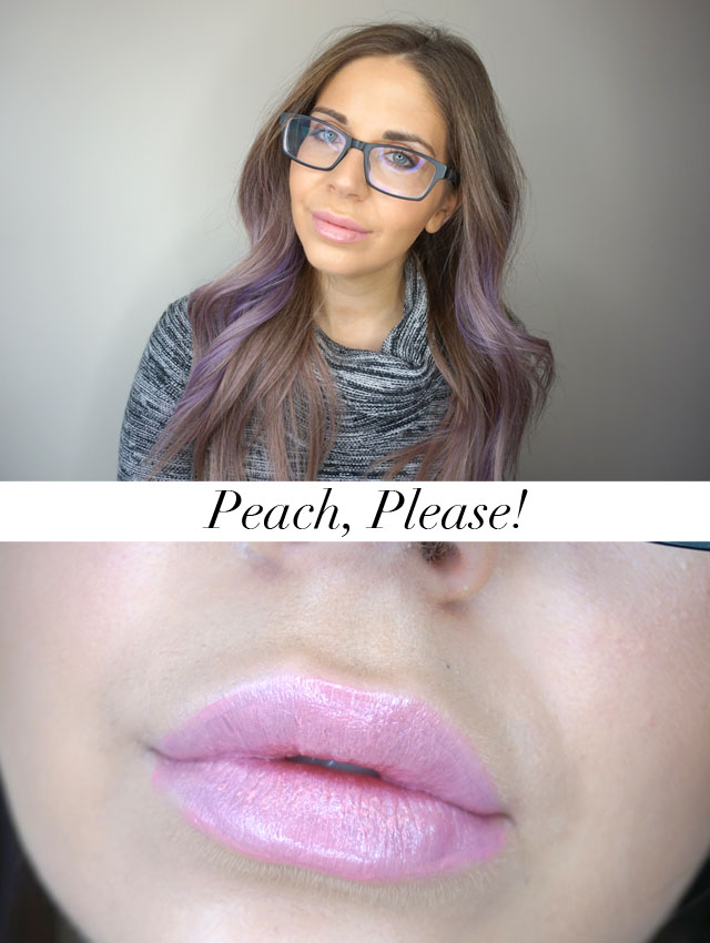 Too Faced Sweet Peach Creamy Lip Oils swatch in Peach, Please!