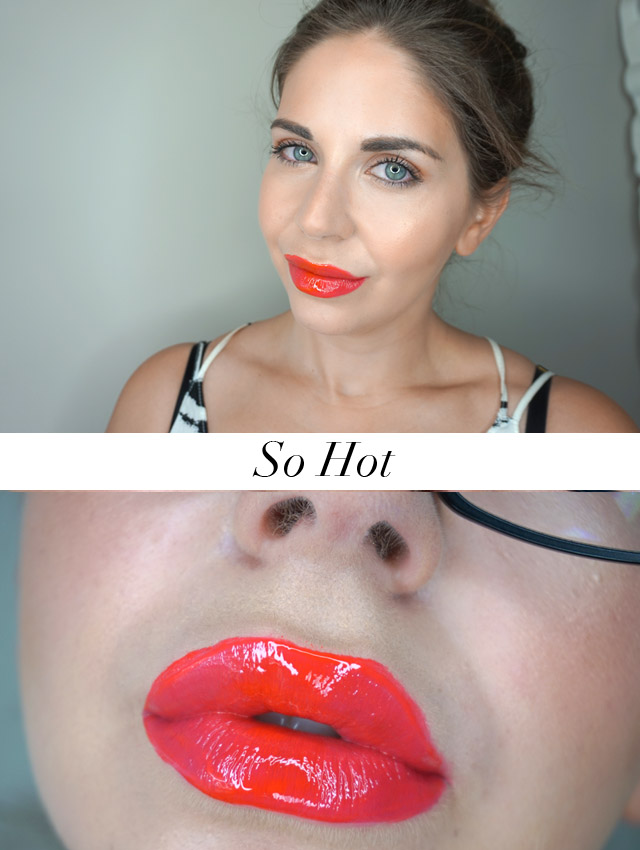 Swatch Maybelline Vivid Hot Lacquers lip gloss in So Hot