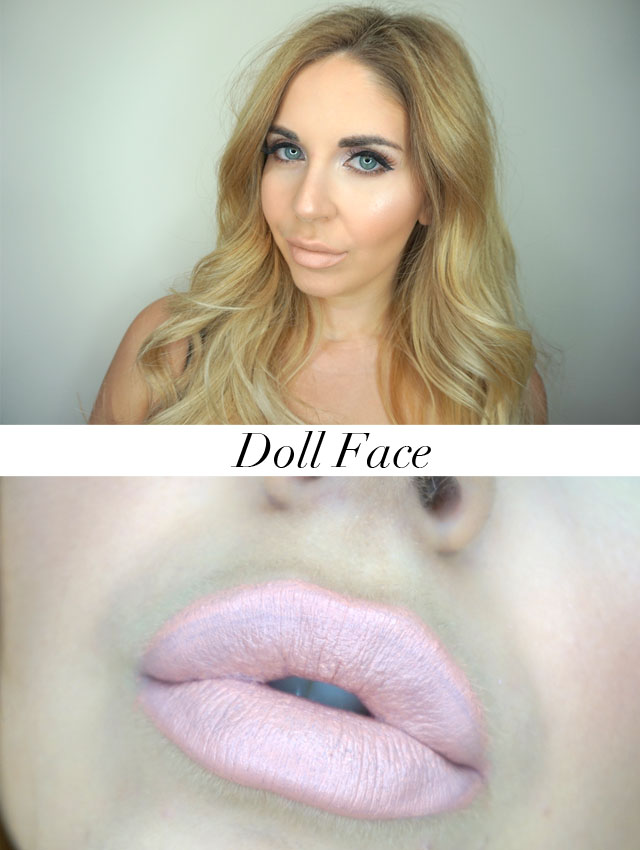 Too Faced Peaches and Cream Moisture Matte Long Wear Lipsticks swatch in Doll Face