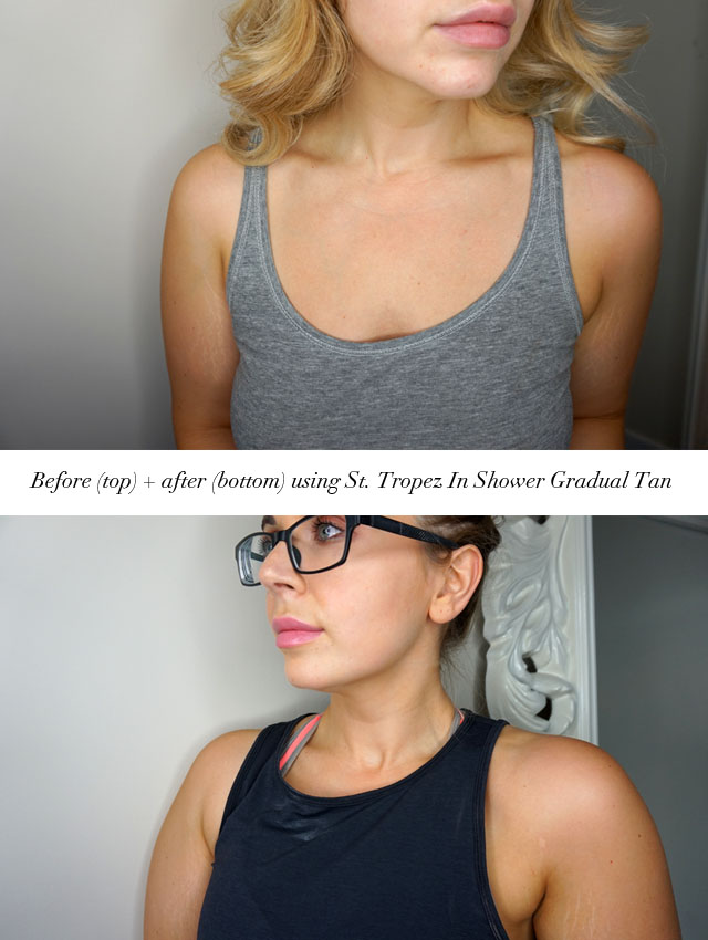 Before and after using St. Tropez In Shower Gradual tanner