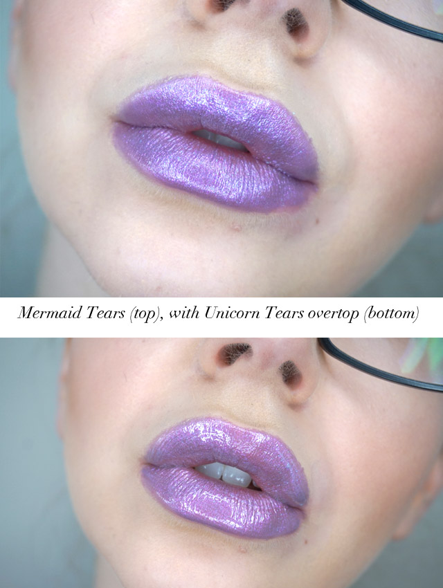 Mermaid Tears lipstick with Unicorn Tears lip topper
