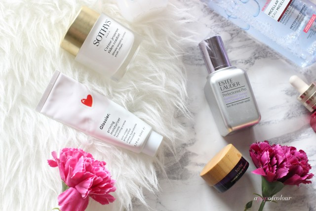 Serums and eye creams by Tarte and Estee Lauder and Sothys