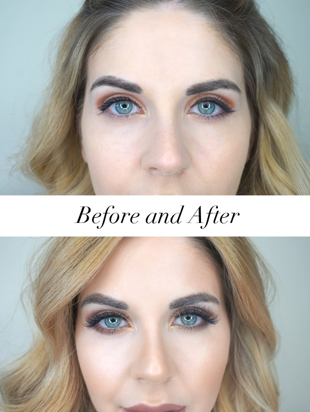 Before and after using Kiss Blowout lashes in Beehive