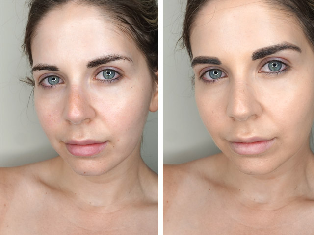 Before and after using CoverGirl TruBlend Matte Made Foundation in M10