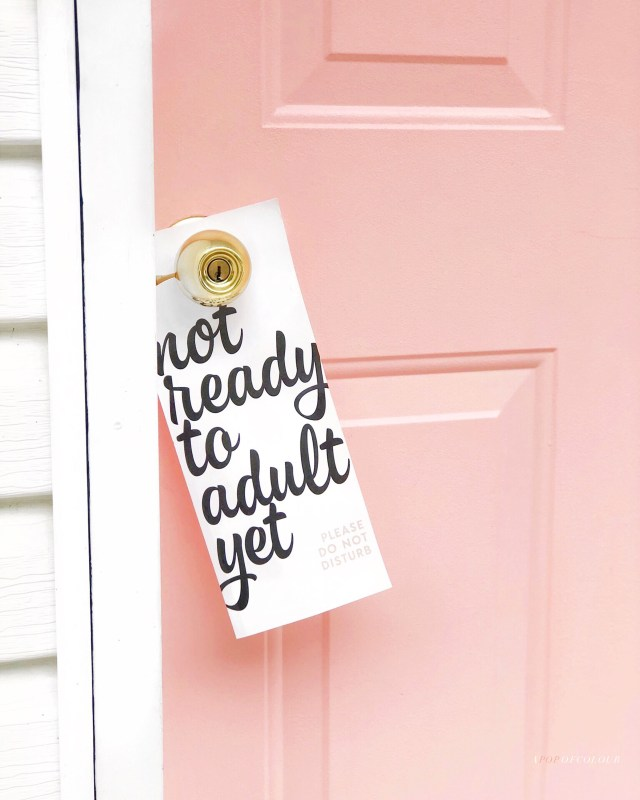 Not Ready to Adult Yet door sign at The June Motel