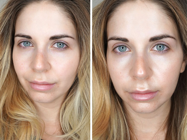 Before and after swatches of Physician's Formula Spotlight Illuminating Primer