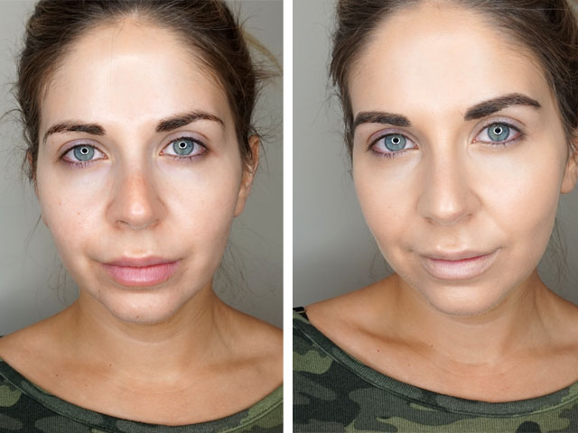 Before and after using the Too Faced Dew You Foundation in Porcelain