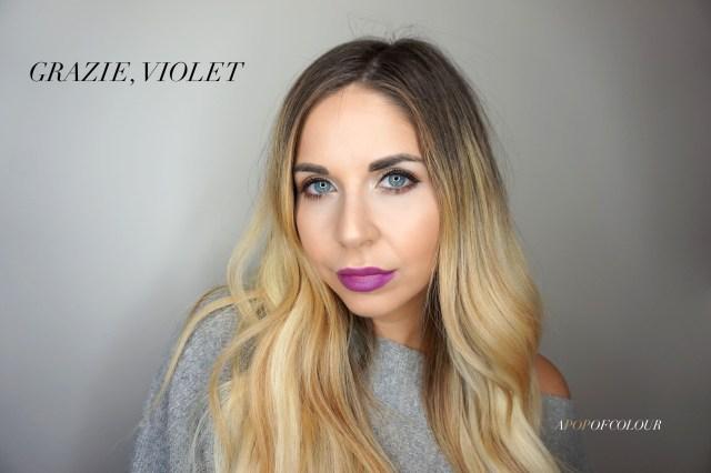 Mary Kay Matte lipstick swatch in Grazie, Violet