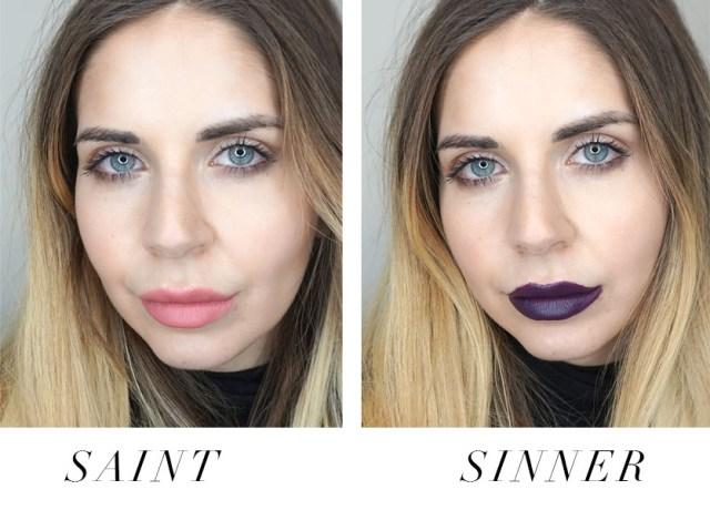Kat Von D Studded Kiss Lip Creme Saint and Sinner swatched