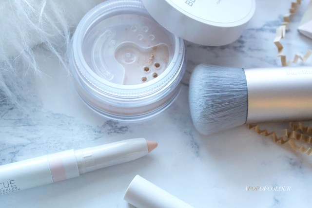 Bare Minerals Blemish Rescue powder foundation, concealer, and brush