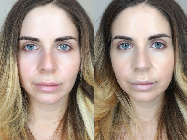 Before and after using the Rodan + Fields Radiant Defense Perfecting Liquid Broad Spectrum SPF 30