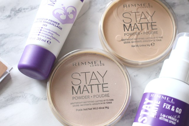 Rimmel London Stay Matte pressed powder, primer, and spray