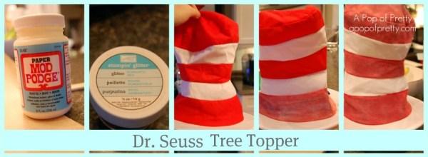 Dr Seuss Christmas Tree Topper Glittered Hat
