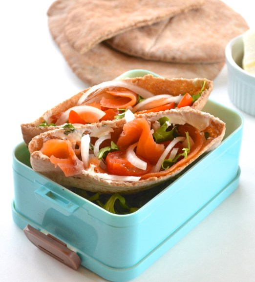 Smoked Salmon Pita Sandwiches. A healthy and easy lunch option that comes together in less than 5 minutes!