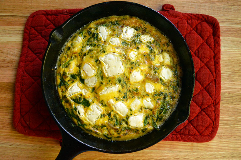 Kale, Spinach, and Feta Frittata- an exquisite, airy, and very delicious recipe with healthy greens and delicious feta on top!